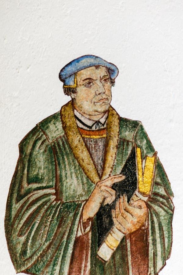 Fresko van de Duitse hervormer Martin Luther stock fotografie