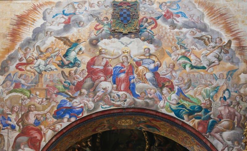 Fresko van de Kroning van Mary in Convento DE San Esteban, stock foto's