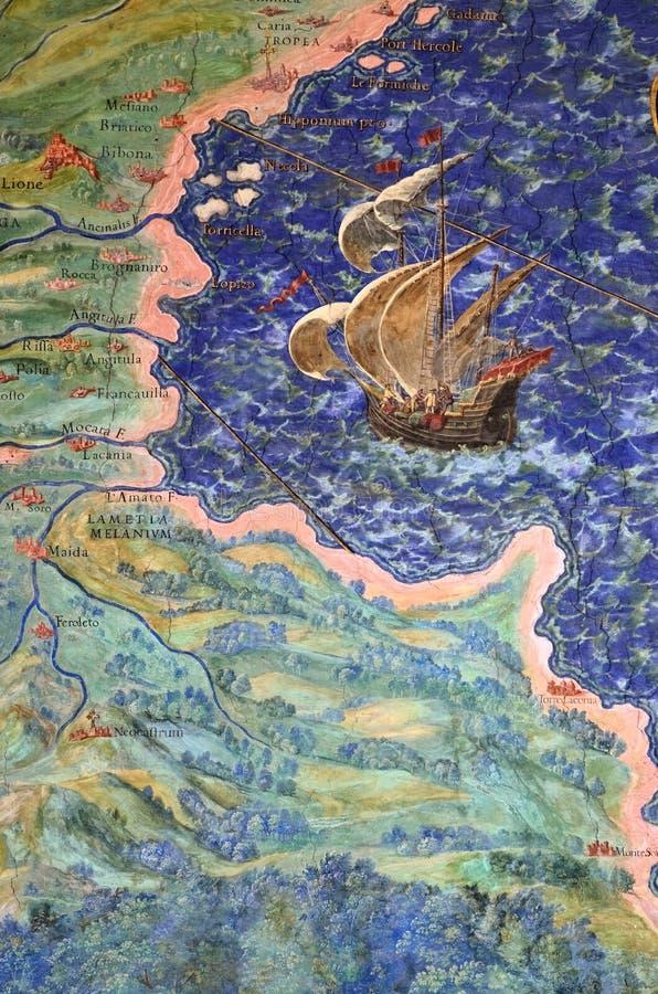 Fresko van de oude geografische kaart royalty-vrije stock afbeeldingen