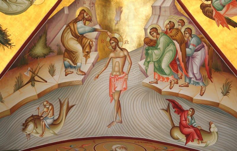 Fresko van Epiphany (Doopsel) bij Onderstel Tabor royalty-vrije stock afbeeldingen