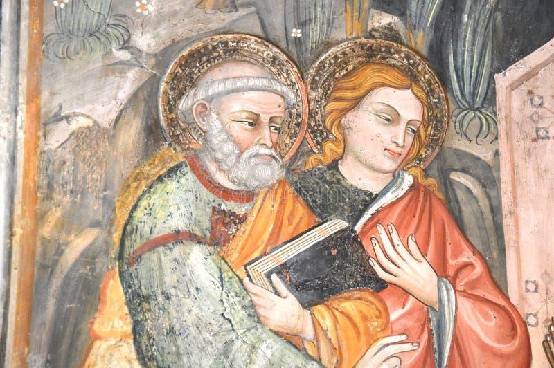 Fresko van Heilige Benedict stock fotografie