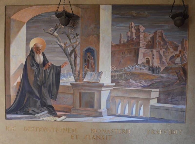 Fresko van Heilige Benedict stock foto