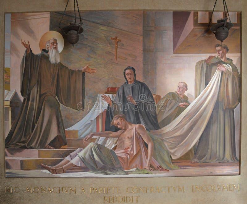 Fresko van Heilige Benedict stock afbeelding