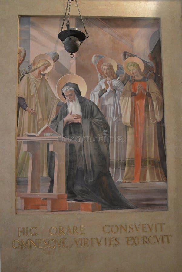 Fresko van Heilige Benedict royalty-vrije stock afbeeldingen