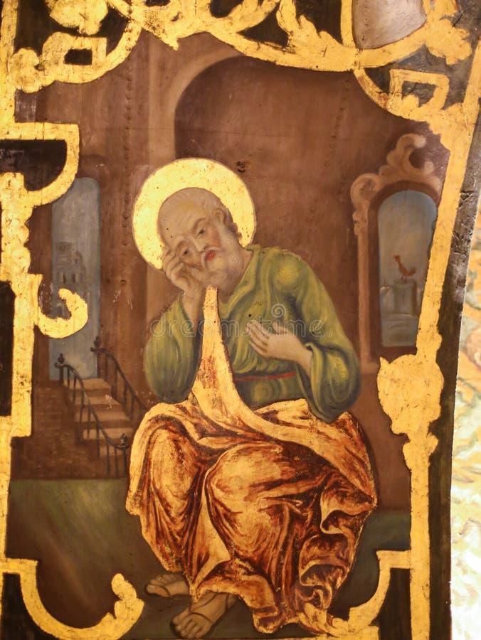 Fresko van Heilige Peter in Kerk van het Heilige Grafgewelf, Jeruzalem royalty-vrije stock afbeeldingen