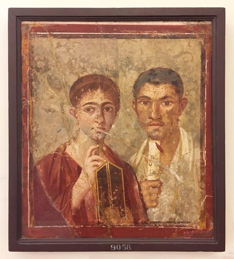 Fresko van Pompei, MANN Museum, Napels stock foto