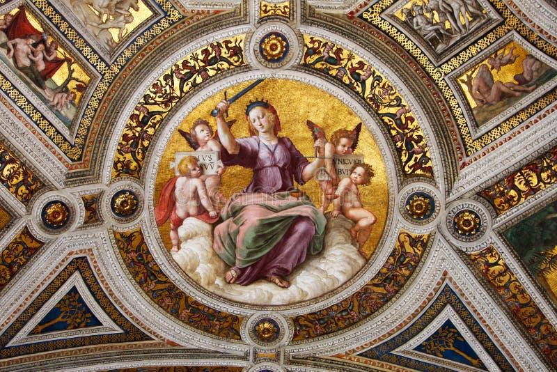 Fresko van Raphael, stanza 2 stock foto