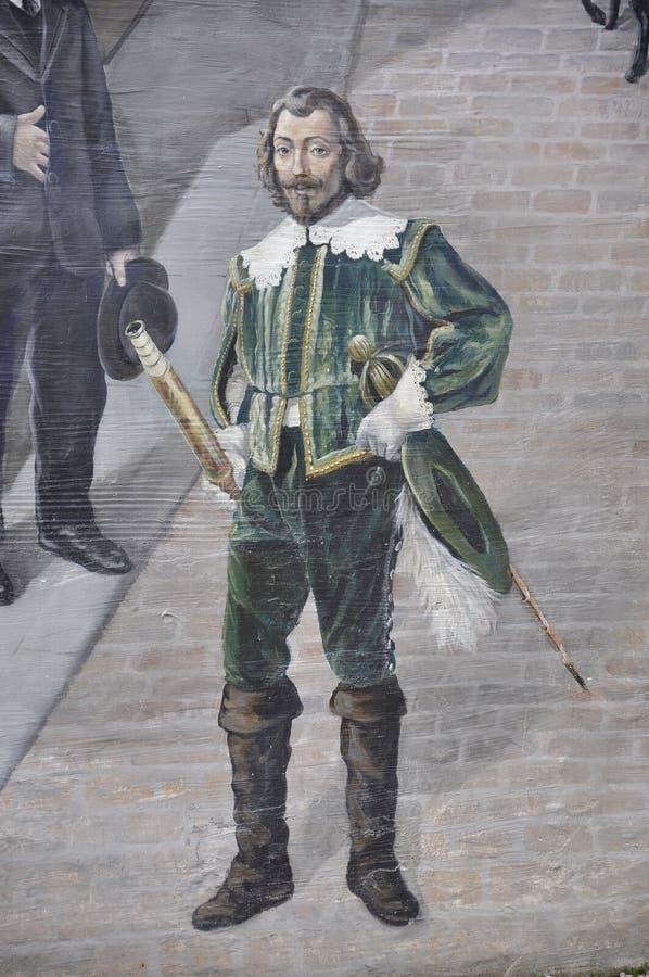 Fresko van Samuel de Champlain van Parc DE La Cetiere Old Quebec Stad in Canada royalty-vrije stock fotografie