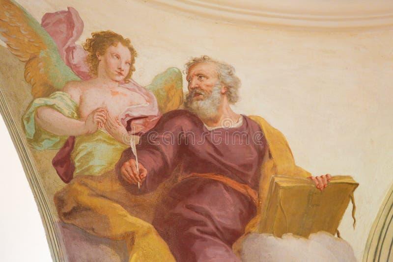 Fresko van St Matthew de Evangelist in Loreto Prague royalty-vrije stock fotografie
