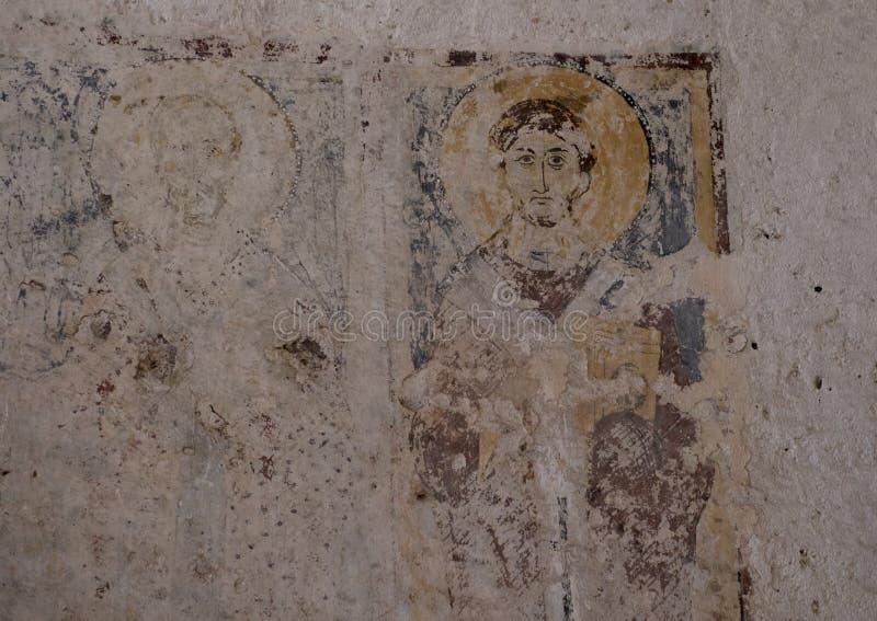 Fresko von St Philip in ` Antico, Lama D Parco Rupestre ` Antico La Chiesa Di Lama D stockfoto