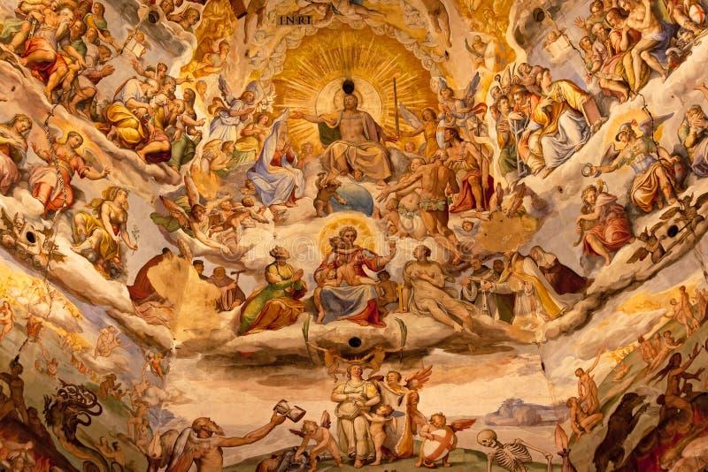Freskoduomo-Kathedrale Florenz Jesus-Vasari lizenzfreie stockbilder