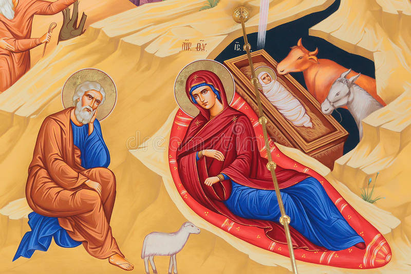 Freskomålning av Jesus Christ födelse arkivbilder