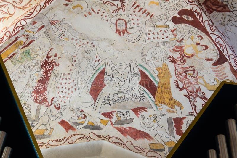Freskomålning av Kristus på domdagen, royaltyfri bild