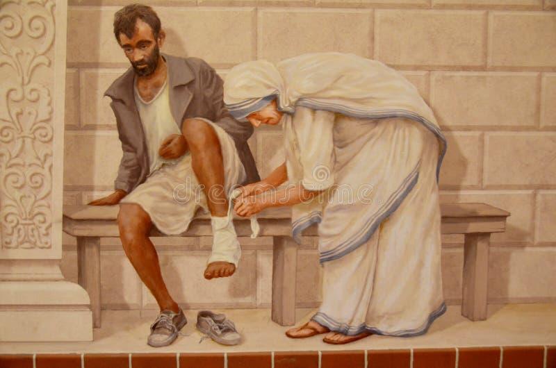 Freskomålning av modern Theresa royaltyfri foto