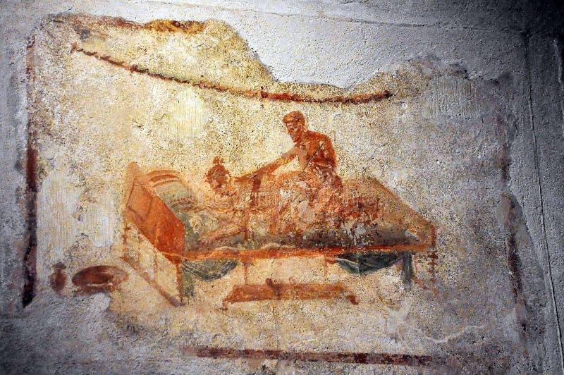 Freskomålning i Pompeii, Italien royaltyfri fotografi