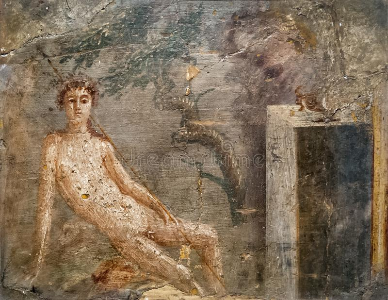 Freskomålning i Pompeii nära Naples, Italien royaltyfri foto