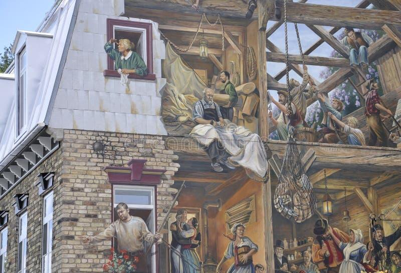 Freskomålning på Rue du Petit Champlain från gamla Quebec City i Kanada arkivfoton