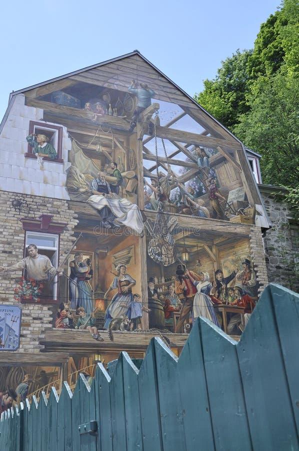 Freskomålning på Rue du Petit Champlain från gamla Quebec City i Kanada fotografering för bildbyråer