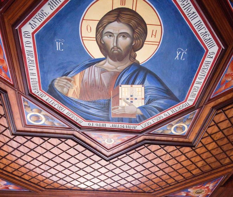 Freskomålningmålning av jesusuen christ royaltyfri fotografi