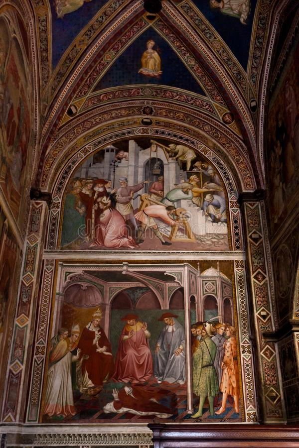 Freskomålningpåve Alexander III Aretino, Sala di Balia, Palazzo pubblico, Siena, Tuscany, Toscana, Italien, Italia arkivbilder