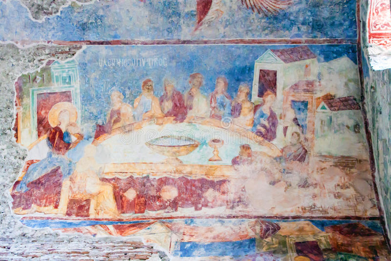Freskos in der Kirche von Hagia Sophia lizenzfreie abbildung