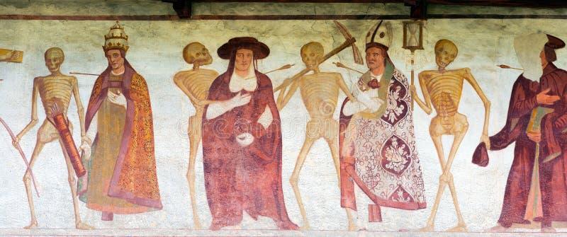 Fresku Makabryczny taniec - Pinzolo Trento Włochy zdjęcie stock