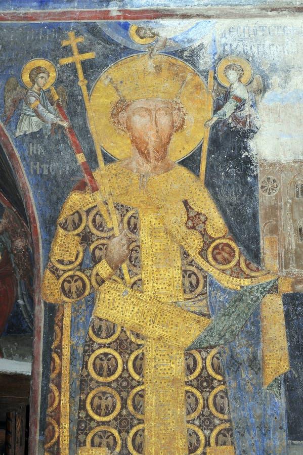 Fresku obraz w monasterze Manasija blisko Despotovac, Serbia zdjęcia royalty free