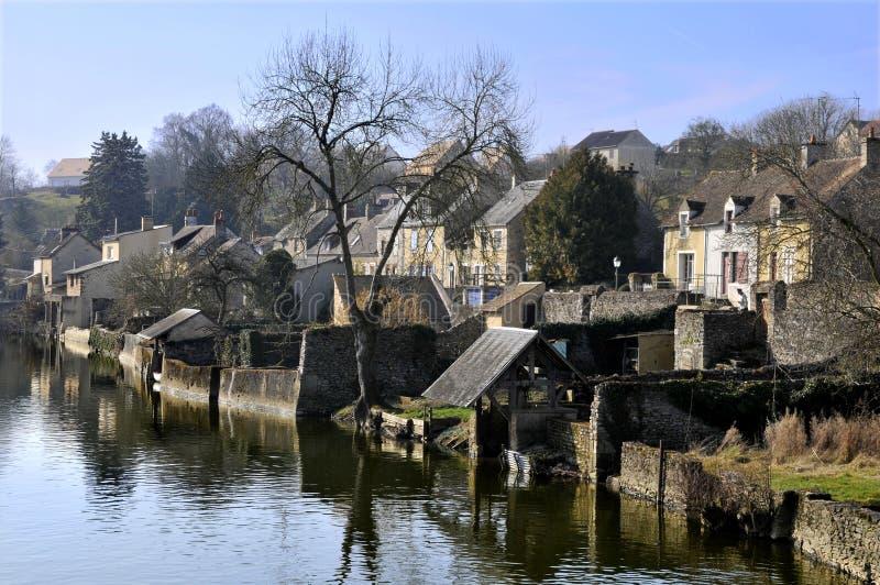 Fresnay op Sarthe in Frankrijk stock foto