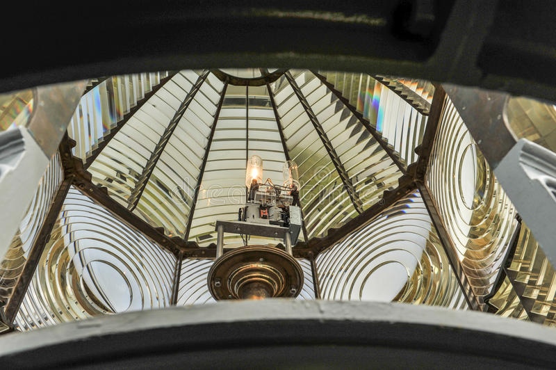 Fresnel lens Inside of a lighthouse. Bulb and lens inside a lighthouse stock photo