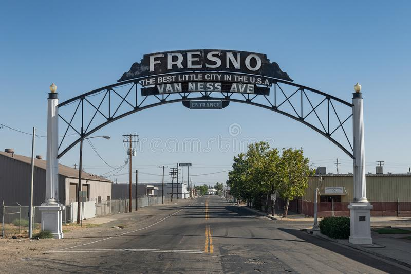 Fresno Archway Sign. Fresno Best Little City in the U.S.A. welcome sign on Van Ness Avenue in Fresno, California royalty free stock photo