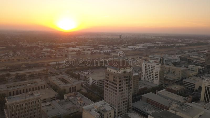 Fresno California Downtown Skyline at Sunset. Downtown Skyline of Fresno, California. View from a drone. Taken a late October evening royalty free stock images