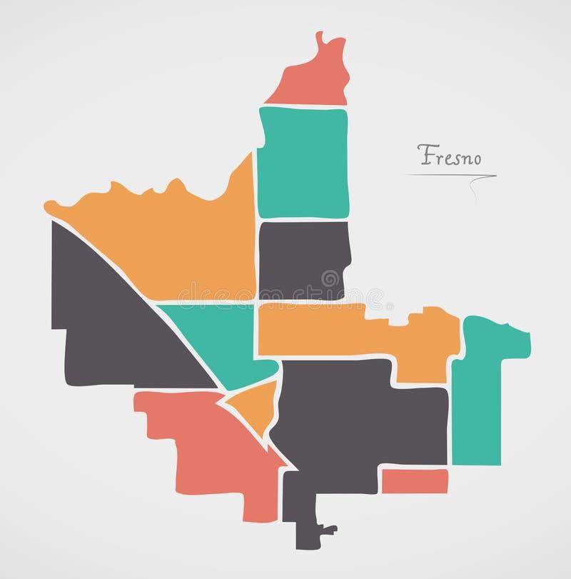 Fresno California Map with neighborhoods and modern round shapes. Illustration stock illustration