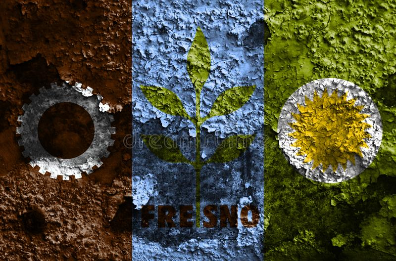 Fresno city smoke flag, California State, United States Of America.  royalty free stock photo