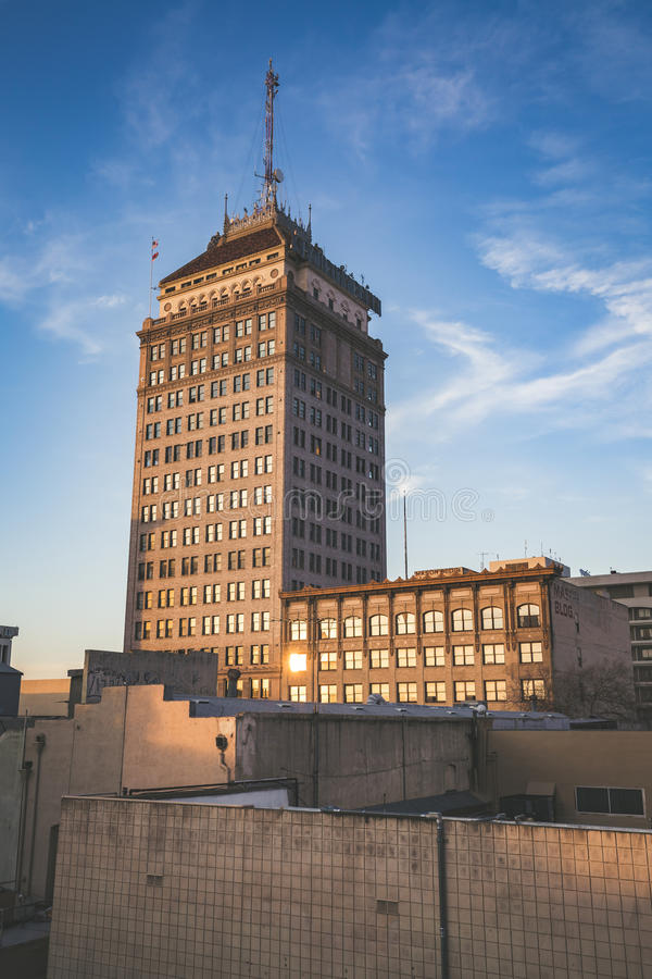 Fresno Pacific Southwest Building. Sunset on the Fresno Pacific Southwest Building stock photo