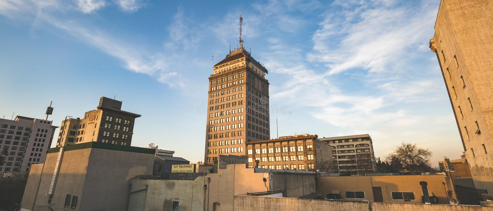 Fresno Panorama. Sunset on the Fresno Pacific Southwest Building stock photography