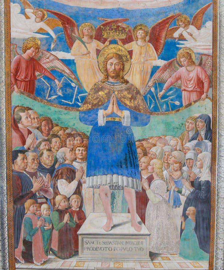 Fresque à San Gimignano, Italie photo libre de droits