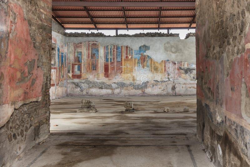 Fresque antique à Pompeii image libre de droits