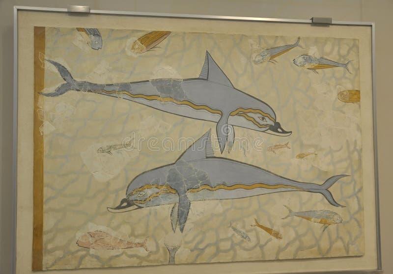 Fresque dépeignant la pièce de deux dauphins de composition marine de paysage de palais de Knossos photo libre de droits