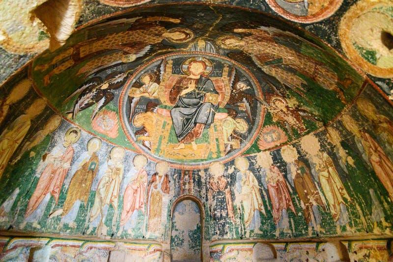 Fresque dans l'église de la croix à la vallée de Rose Cappadocia La Turquie photos libres de droits