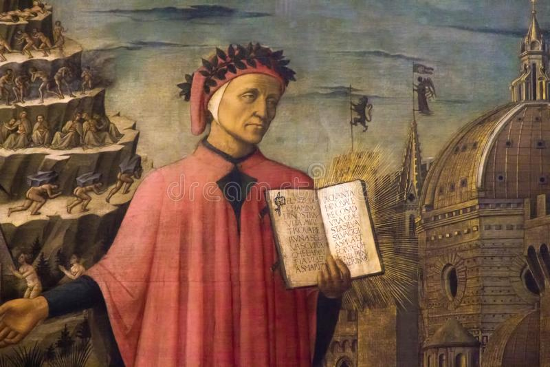 Fresque de Dante Alighieri photographie stock