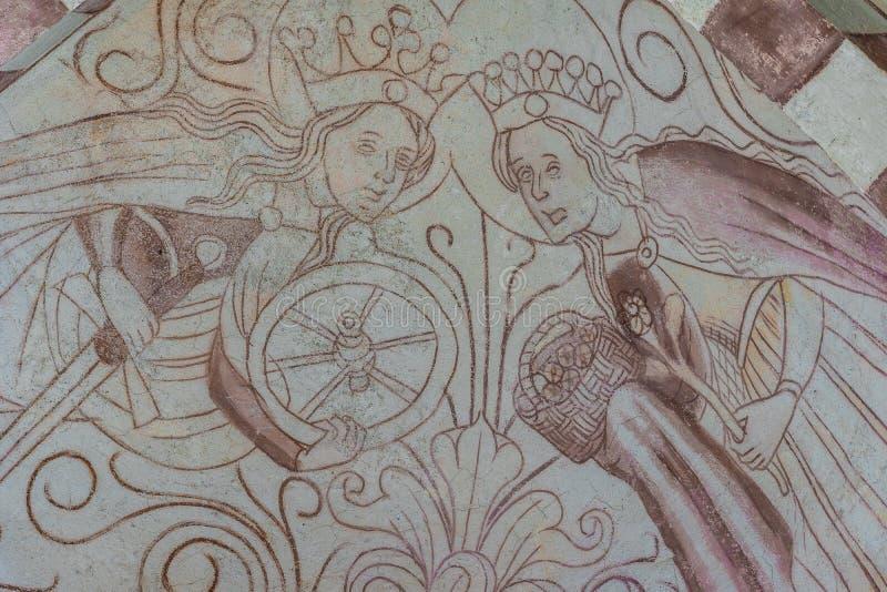 Fresque de deux martyres, de saint Catherine et de saint Dorothy photos libres de droits