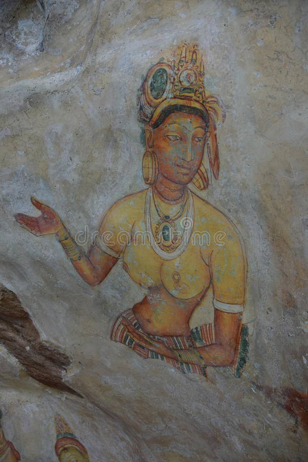 Fresque de jeunes filles de Sigiriya photos stock
