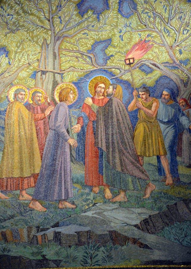 Fresque de Judas Iscariot embrassant Jésus photos stock