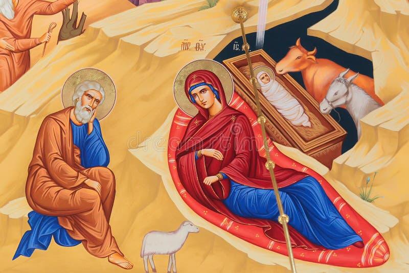 Fresque de naissance de Jesus Christ images stock