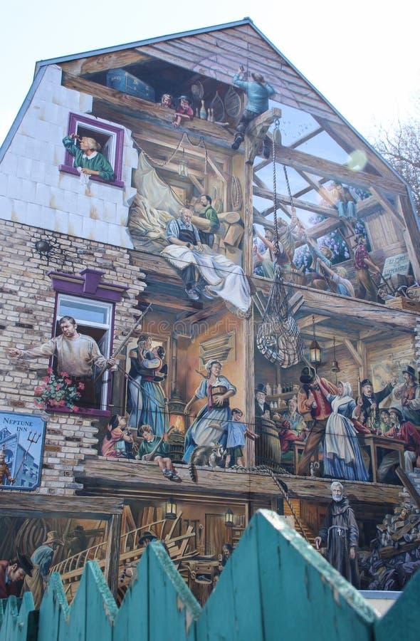 Fresque de petit Champlain à l'extrémité de Rue du Petit Champlain dans la ville inférieure au vieux Québec, Canada photos stock