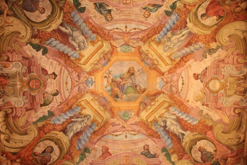 Fresque de plafond dans la galerie d'Uffizi, Florence, Italie image libre de droits