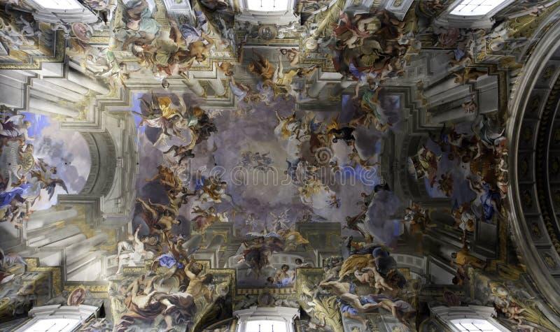 Fresque de plafond de Sant'Ignazio, Rome images libres de droits