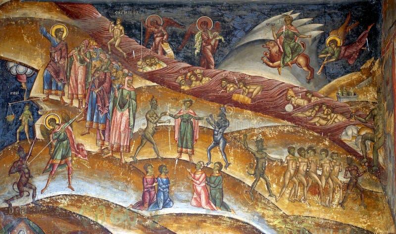 Fresque de purgatoire de Chrristian photographie stock
