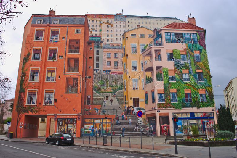 Fresque du Canuts à Lyon dans le secteur du Croix-Rousse images stock