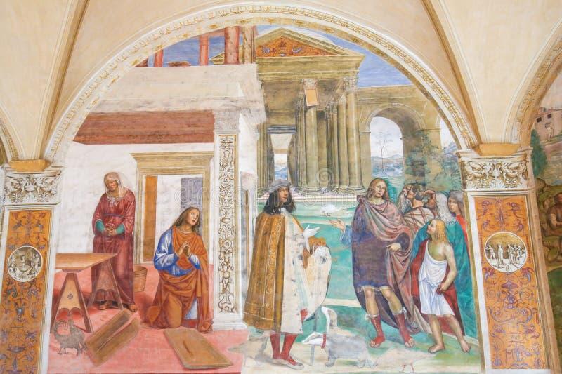 Fresque en Monte Oliveto Maggiore - Benedict Repairs un col cassé images libres de droits